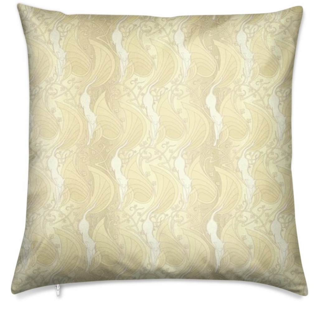 Velvet Shimmer Laguna Yellow Throw Pillow