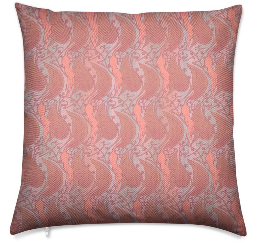Herringbone Vermilion & Teal Throw Pillow