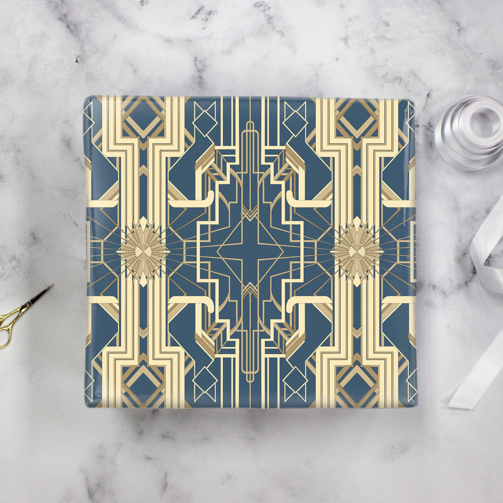 Great Catsby Wrapping Paper Steel Blue and Gold