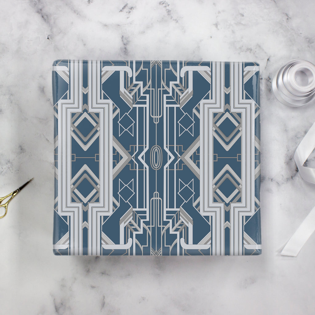 Great Catsby Wrapping Paper Steel Blue and Gray