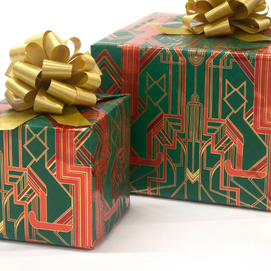 Catsby Metallic Holiday Green, Red and Gold Wrapping Paper