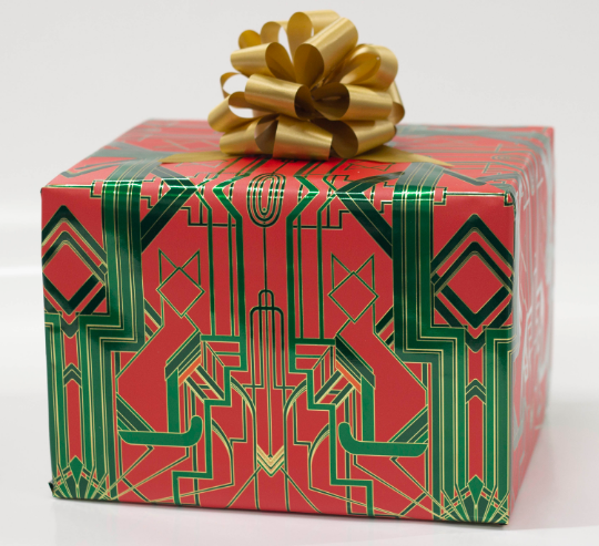 Great Catsby Metallic Holiday Red, Green and Gold Wrapping Paper