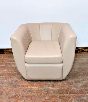 2 WET SAND / CREAM LEATHER TUB  ARMCHAIR / CLUB / FLUTED / DARK WALNUT FEET (NEW) - Browsers Emporium