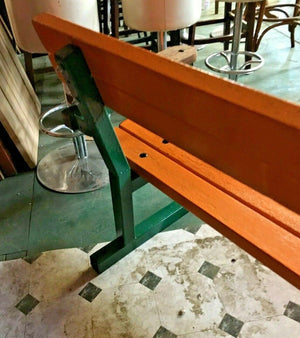PARK BENCH / SOLID TEAK PLANKS / GALVANIZED METAL BENCH ENDS / ORANGE / GREEN - Browsers Emporium