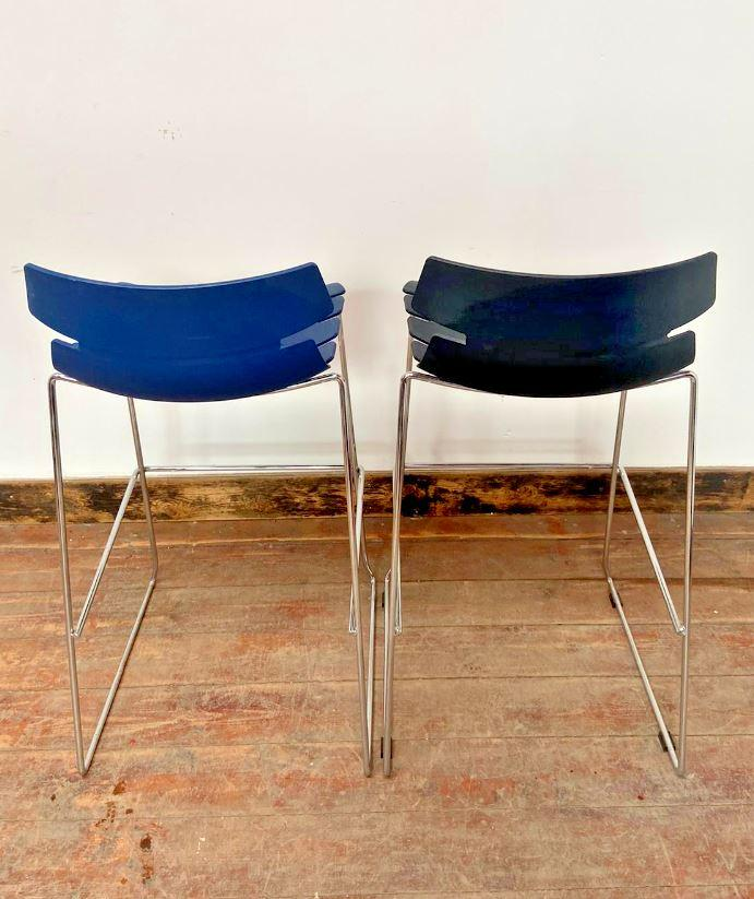 PAIR OF TALL OUTDOOR / INDOOR BAR STOOLS / BLUE / BLACK / PLASTIC / METAL (NEW) - Browsers Emporium