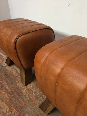 TAN LEATHER AND WOOD POMMEL HORSE STOOL (NEW) - Browsers Emporium