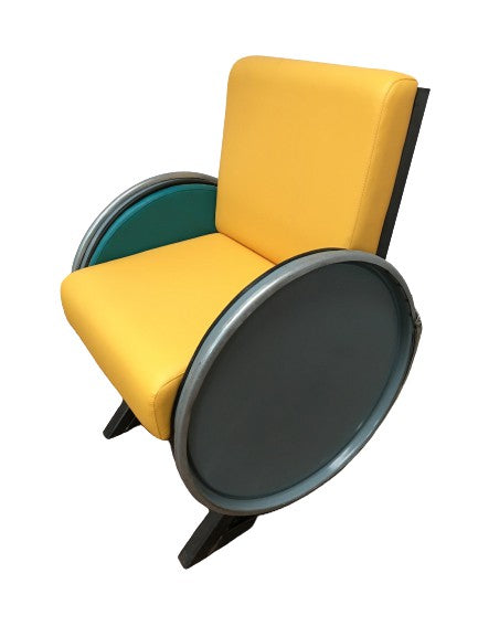 YELLOW STEEL DRUM CHAIR (NEW) - Browsers Emporium
