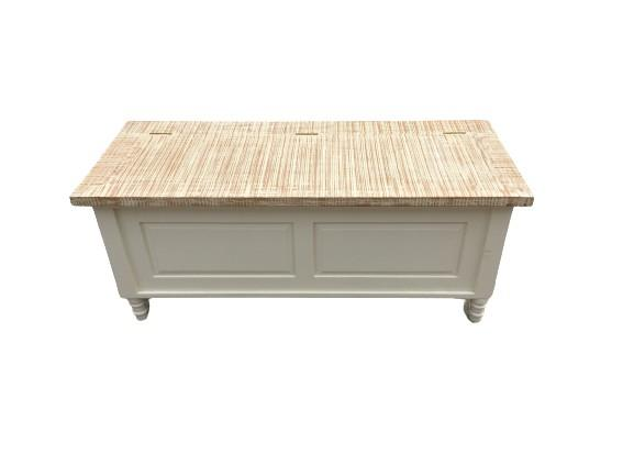 WHITE COFFEE TABLE WITH WHITE WASHED TOP (NEW) - Browsers Emporium