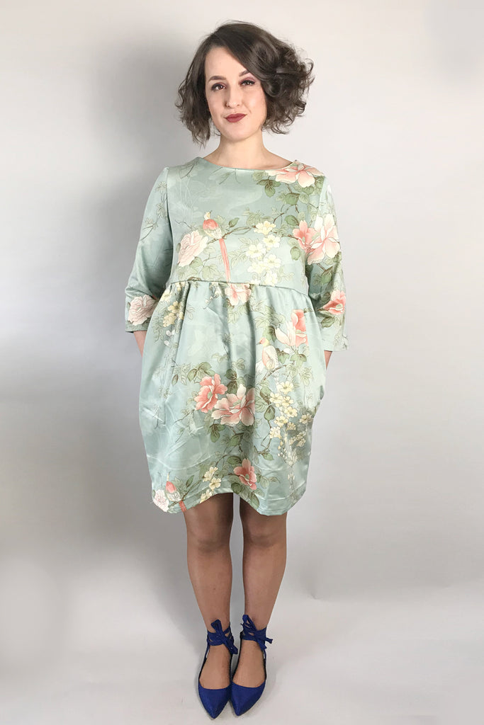 Vintage Bird & Flower Smock Dress