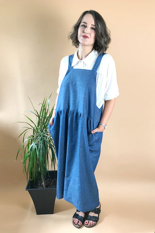 Denim Chambray Midi Apron Dress