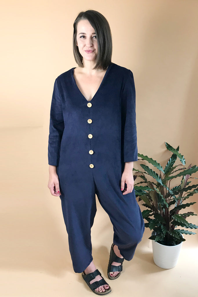 Minimal Long Sleeve Corduroy Jumpsuit