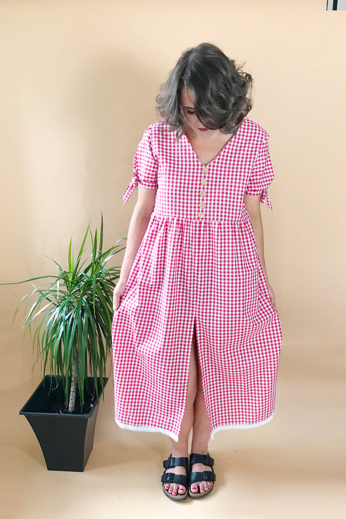 Tie Back Gingham Midi Dress