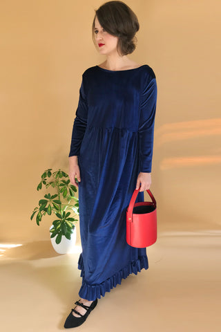 Velvet Maxi Flounce Dress