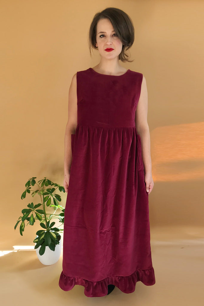 Velvet Maxi Pinafore Flounce Prairie Dress