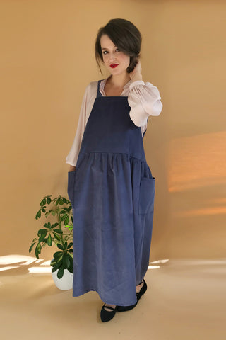 Corduroy Midi Smock Dungaree Dress - Multiple Colours