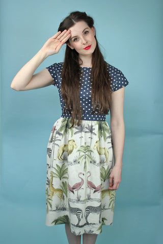 40s Polka Dot Jungle Dress