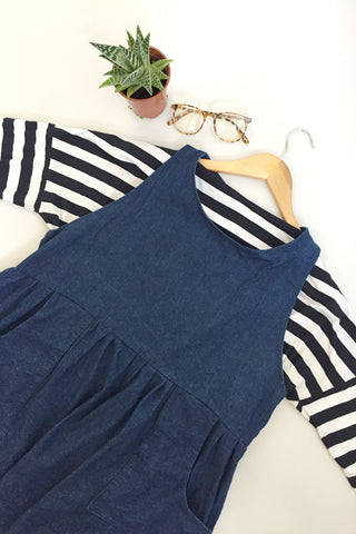 Denim Pinafore Smock w/ Pockets