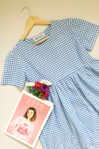 Short Sleeve Gingham Smock Red
