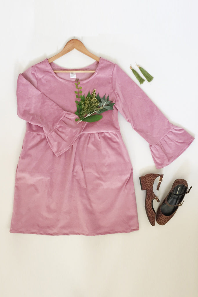 Corduroy Fluted Sleeve Smock Dress