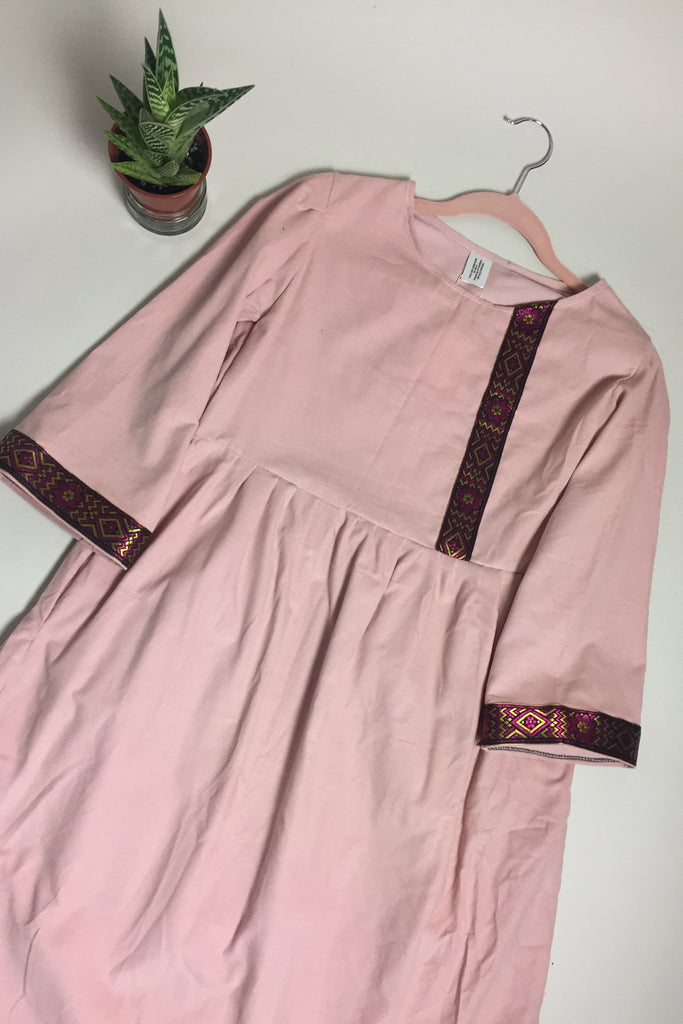 Pink Ethnic Midi Cord Dress UK6