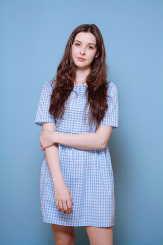 Summer Gingham Dress Blue