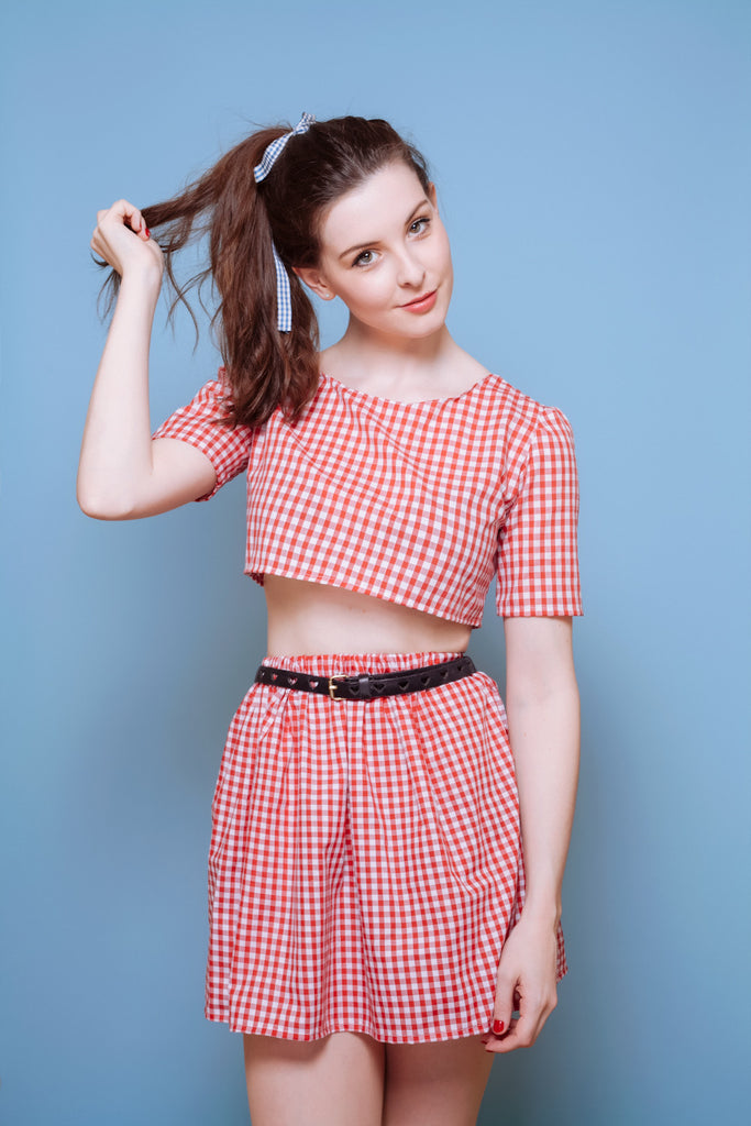 Red Gingham Co-Ord Shorts or Skirt