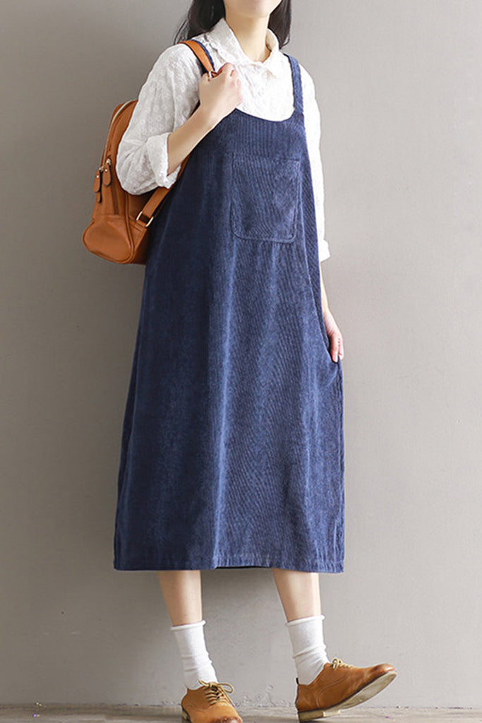 Corduroy Trapeze Pinafore Dress