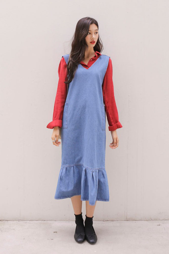 Frill Hem Denim Midi Dress