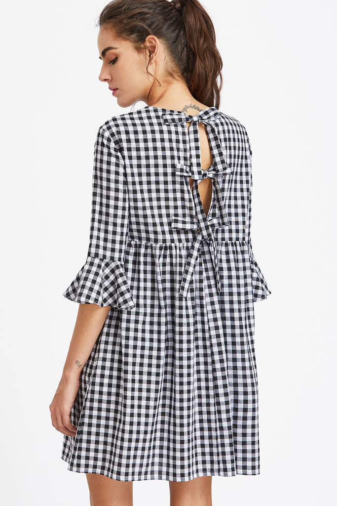 Bow Back Gingham Smock Dress