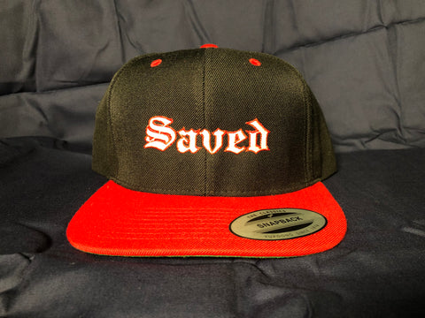 Saved Two-Tone Snapback Hat Red/Black
