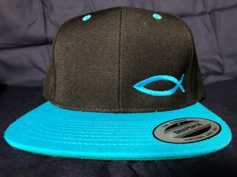 TWO-TONE Snapback ICHTHYS HAT Neon Blue