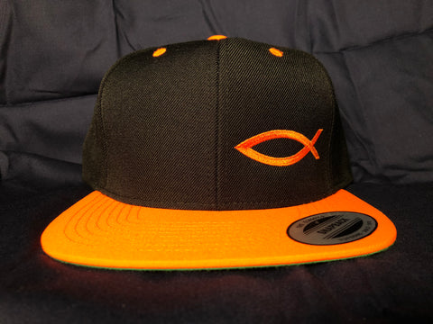 TWO-TONE Snapback ICHTHYS HAT Neon Orange