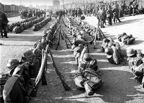Luftwaffe rucksacks in Luxembourg assembly point during ww2