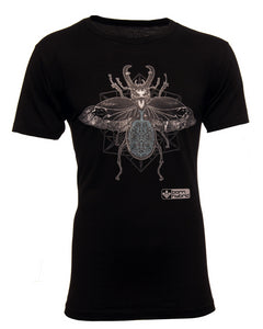 Black men's eco friendly graphic t-shirt with a detailed beetle design