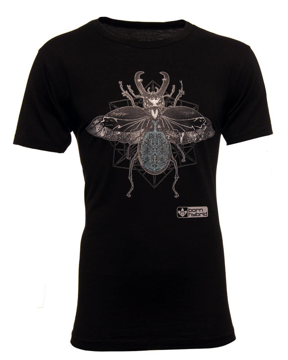 Black men's eco t-shirt with a detailed beetle design