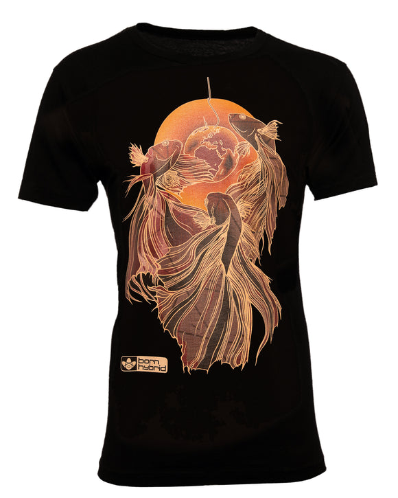 Men's black graphic tee with red and orange fighting fish design. Eco t-shirt by Born Hybrid
