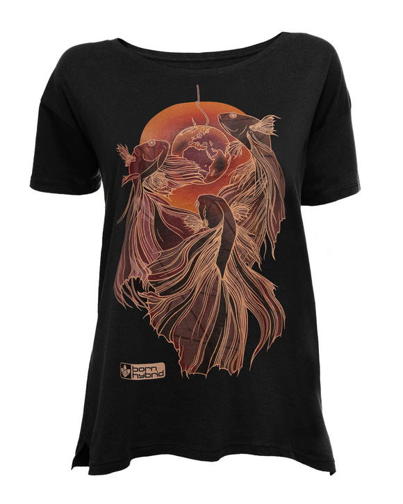 Black women's graphic t-shirt with orange and red fish design
