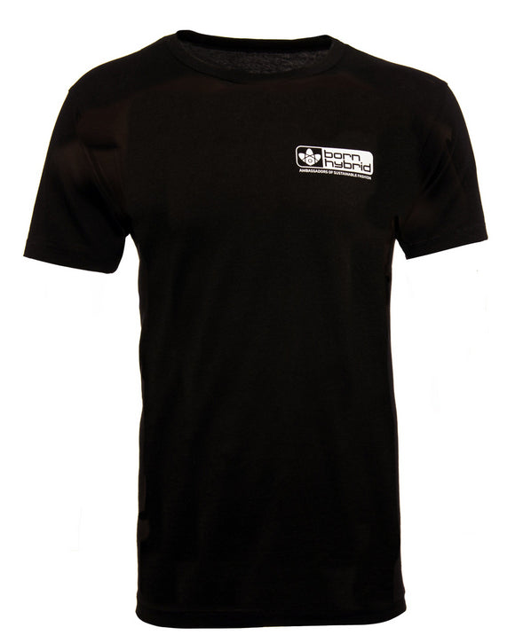 Born Hybrid logo T-shirt in black with white logo. Made from organic cotton and wood pulp