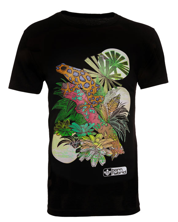 Black graphic tee with colourful poison dart frog design. Men's/unisex eco t-shirt by Born Hybrid