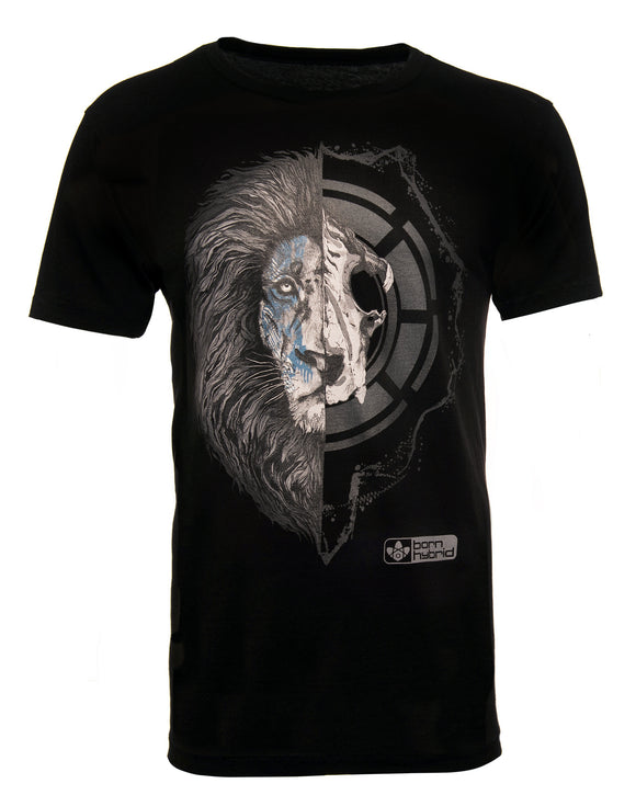 Black men's graphic t-shirt - half lion face, half lion skull. Combed organic cotton