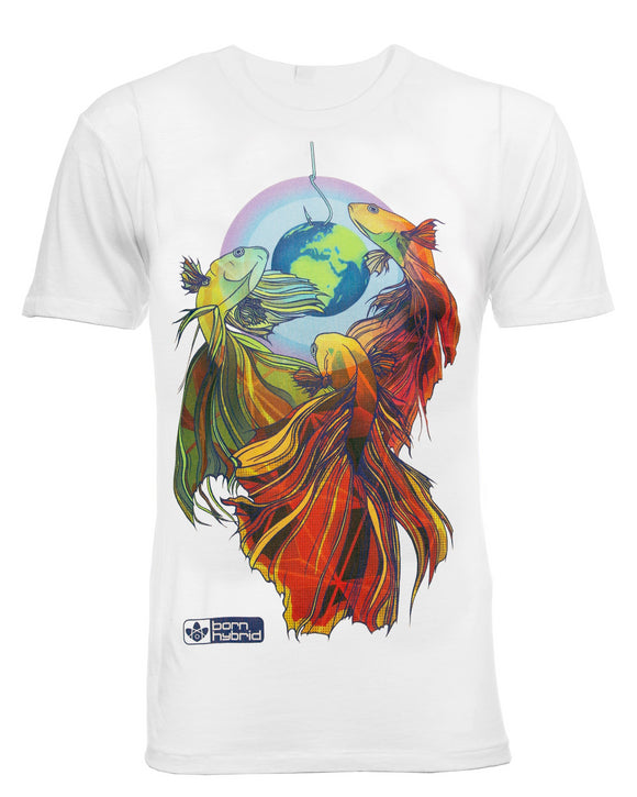 Men's white t-shirt in white with colourful fighting fish design. Eco t-shirt by Born Hybrid