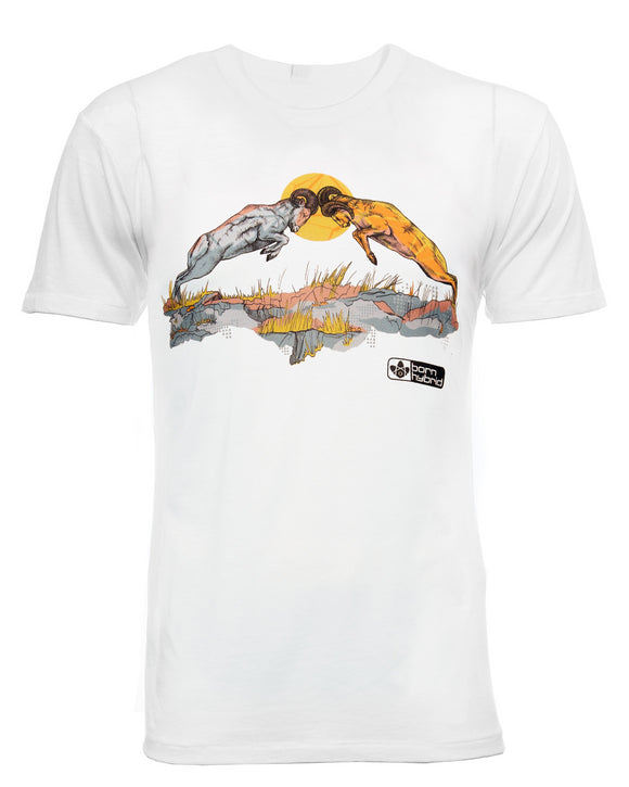 Eco T-shirt in white with ram design. Men's/Unisex fit. Graphic Tee by Born Hybrid