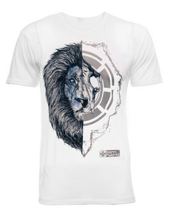 African Lion T-shirt - half lion face, half lion skull. White Graphic Tee In Organic Combed Cotton