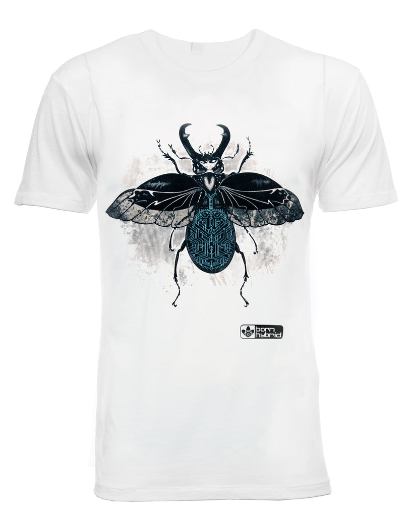 White men's eco t-shirt with a detailed beetle design