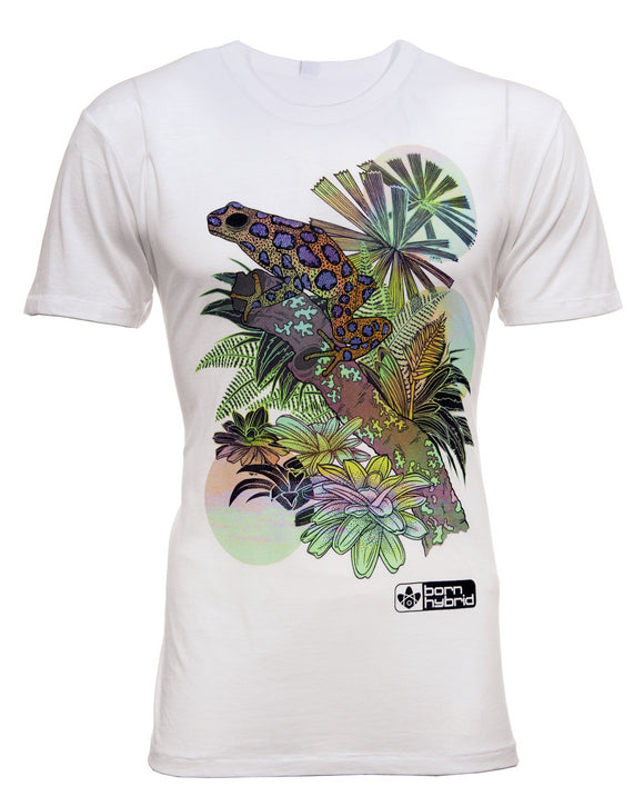 White graphic tee in white with psychedelic poison dart frog design. Men's/unisex eco t-shirt by Born Hybrid