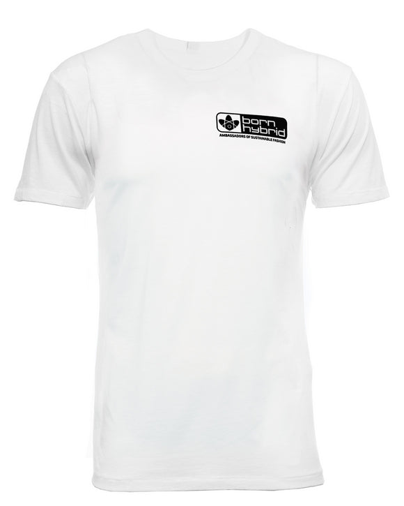 Logo T-shirt in white with black Born Hybrid logo. Made from organic cotton and wood pulp