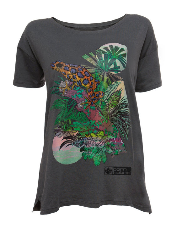 Women's grey graphic t-shirt with colourful frog design