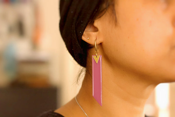 Arbor - Hand Painted Wooden Pendant Earrings