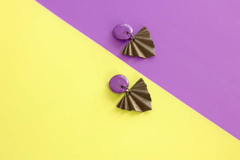 Aspire - Hand Painted Wooden Stud Pendant Earrings