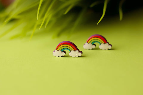 Aura - Hand Painted Wooden Stud Earrings